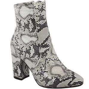 New Snake Stretch Chunky Heel Ankle Boots Booties